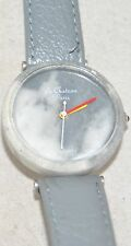 "Vintage Le Chateau Paris ""Real"" Gray Marbleized Stone Watch Gray Leather Band"