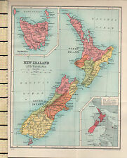1927 MAP ~ NEW ZEALAND ~ NORTH & SOUTH ISLAND ~ INSET TASMANIA