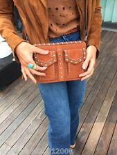 ZARA LEATHER STUDDED CITY BAG HAND BAG SHOULDER BAG BROWN RRP £79.99