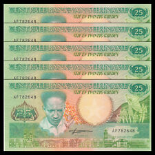 Lot 5 PCS, Suriname 25 Gulden, 1988, P-132, UNC