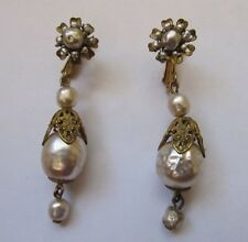 Vintage MIRIAM HASKELL Baroque Pearl TEARDROP EARRINGS