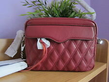 NWT Rebecca Minkoff Leah Leather Quilted Mini Camera Bag-Silver Chain-Tawny Port