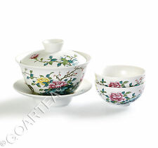 3Pcs Hand Paint Peony Porcelain Chinese Gaiwan teacup Cup GongFu Tea Set 120ml