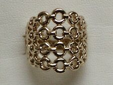 Circle Link Wide Band Ring in 14k Yellow Gold, Size 7