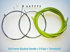 "Kit Freno Guaina Verde + 2 Cavi + Terminali per bici 27,5""-29"" MTB Mountain Bike"