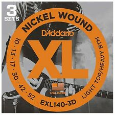 D'addario 3 Sets EXL140 3D Light Top Heavy Bottom 10-52 3 pack