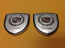 Metal Cadillac Emblem (2pcs) Side Badge Sticker Decal Fender Window Hood Trunk