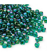 200 Translucent Emerald Green Rainbow  Matsuno 6/0 Glass Seed Beads
