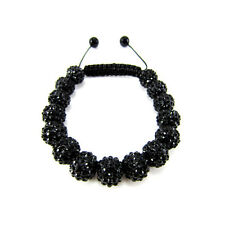 ICED OUT ALL JET BLACK DISCO BALL HIP HOP CZ PAVE BLING BEADED BRACELET