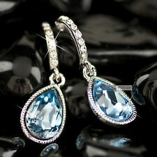 18k white gold gp genuine blue SWAROVSKI crystal stud wedding party earrings