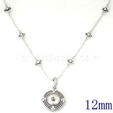 Silver Rhinestone 12mm Snap Interchangeable Necklace For Ginger Snaps Jewelry