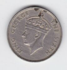 1950 MAURITIUS KING GEORGE ONE RUPEE COIN shows 8 Pearl C-451