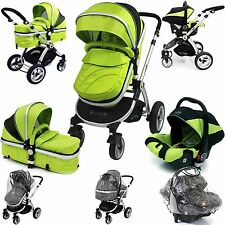 iSafe 3 in 1  Pram System - Lime Travel System + Carseat + Raincover Package
