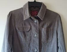 Women's BB DAKOTA L Cotton Blend Gorgeous Long Sleeve Jacket Grey Solid Textured