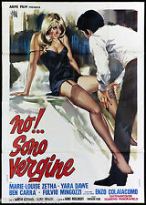 NO!... SONO VERGINE MANIFESTO CINEMA MARIA LUISA ZETHA SEXY 1970 MOVIE POSTER 4F