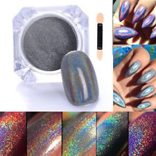 2g/Box Rainbow Holographic Laser Powder Nail Glitter Chrome Pigments power dust