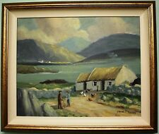ORIGINALE dipinto ad olio su tela Irish Cottage by Irish artista Frank McKeown