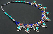 N113 Handmade ladies Fashion resin stones Tibetan Silver Necklace NEPAL Tibet