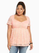 NWT Torrid Coral Lace Cinch Front Babydoll Top Plus Size 1X