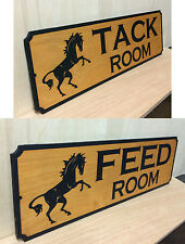 SET OF 2 WOOD SIGNS.TACK  FEED ROOM.Horse Stall.LASER ENGRAVED.GIFT.