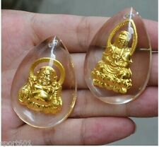2pcs Solid 999 24K Yellow Gold & Crystal Lucky Buddha With  Kwan-yin ONLYPendant