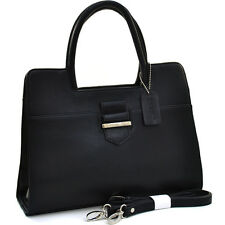 Dasein Women Leather Classic Chic Briefcase Satchel Bag Office Bag Strap  Black