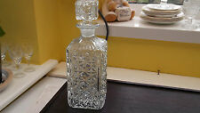 SQUARE  CRYSTAL DECANTER WITH A X  PATTERN  NO MAKERS MARK