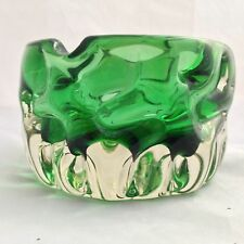 Textured Green Art Glass Ashtray - by Pavel Hlava for Crystalex - Czech 1968
