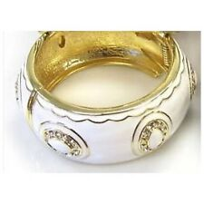 Gold Bangle with White Details and Clear Rhinestones