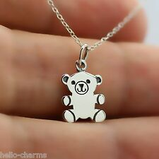 TEDDY BEAR NECKLACE - 925 Sterling Silver - Teddy Bear Charm Toys Children Kids