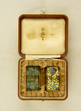 SIGNED ANDO Jubei Pair Boxed Meiji Japanese Cloisonne Enamelled Serviette Rings