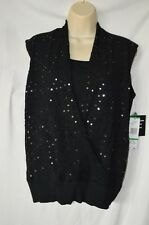 Jones New York Black Large Sweater Tank Layering NEW Loose Fit Sequined