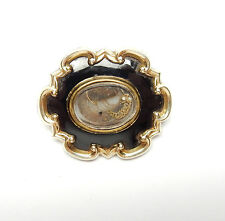 Antique Gold Cased Mourning Brooch Black Enamel