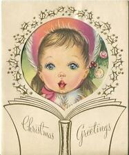 VINTAGE CHRISTMAS BEAUTIFUL GIRL CHILD CAROLER SINGING BLUE EYES CARD ART PRINT