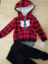 NWT Carter's Baby Boys 3-Piece Fleece Red black plaid Jacket Joggers Set 18M