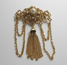 Vintage Retro Victorian Style Gold Imitation Pearl Tassle Chatelaine Pin Brooch