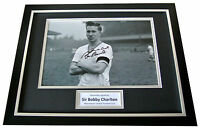 Sir Bobby Charlton Signed & FRAMED Photo Autograph Display Manchester United COA