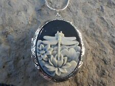 (LOCKET)- DRAGONFLY (CREAM/BLACK) CAMEO LOCKET!! QUALITY!! CHRISTMAS GIFT