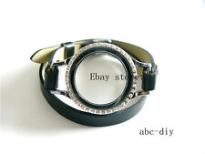 Living Floating Locket Bracelet PU Leather Glass Wrist Bands for charm bracelet