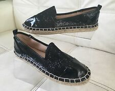 New! Ladies Espadrille Slip On Shoe In Black Glitter Size 6