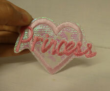 3 pink princess love heart applique embroidered sew on iron on motif patch uk