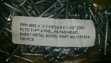sheet metal screw 8 , 1 1/2 phillips pan head quantity 1000