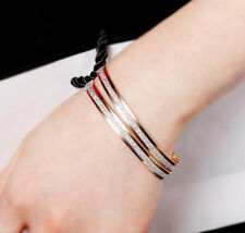Fashion Womens Yellow Gold Plated Double Hoop Bangle Bracelet Charm Jewelry Gift