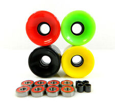 Blank 70mm Longboard Cruiser Multi Color Wheels + ABEC 7 Bearing + Spacers