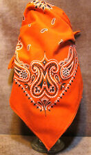 "Vintage Hankie Hankerchief Bandana Neck Scarf Orange 22""x23"""