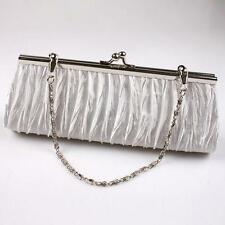 Fashion Satin Pleated Wedding Bridal Evening Party Clutch Purse Handbag Bags LH