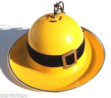 Vtg 1960's Yellow (Arte Plastica) Retro Bowler DERBY Hat Hanging Lamp SPAIN