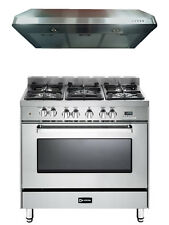 "Verona VEFSGE365NSS 36"" Pro-Style Dual-Fuel Gas Range Oven 2 pc Kitchen Package"