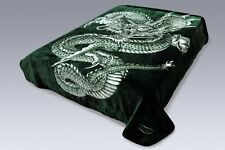 Solaron Korean Super High Quality Thick Mink Dragon Blanket KING SIZE GREEN Soft