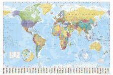 World Map Poster Modern Current Earth Globe Print Wall Art Large Maxi
